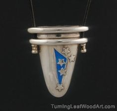 Fine Silver Lidded Box Pendant With Enamel By Pam East: $475