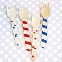 Stars & Stripes Wooden Forks - great for 4th of July or Olympics party