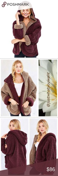Reversible Hoody Jacket Only 3 remaining in stock!  * Lovely Faux Fur Reversible Batwing Fleece Hooded Coat. Perfect for indoor or outdoor wear. So soft you'll never want to take it off.  * New boutique item!  * 65% Acrylic+21% Polyester+14% Modacrylic * XL =12-14 * XXL=16-18 Available in Beige and Burgundy Jackets & Coats
