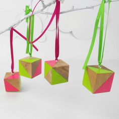 Modern Neon Christmas Ornaments Decoration x4 modern Green Pink