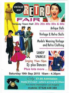 VINTAGE & RETRO FAIR - TORQUAY TOWN HALL - SATURDAY 19th SEPTEMBER -10.00am-4.30pm! #GuideToVintage #events