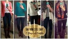 A week's worth of casual outfits for moms.  Skinny jeans, sweaters and boots.  Click the link to see all seven:  http://getyourprettyon.com/daily-mom-style-volume-1/