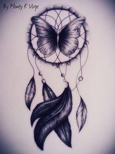 Drawing Dreamcatcher by montykvirge on- love the butterfly in the middle!! I'm in love with this tattooo