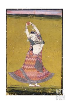 Dancing Girl, Early 19th Century (Gouache with Gold and Silver Paint on Paper) Giclee Print