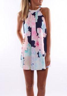 Dark Blue Floral Print Zipper Round Neck Sleeveless Dress