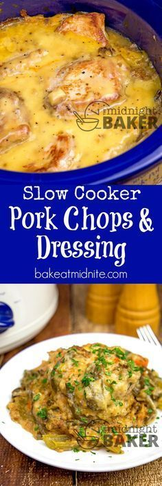 Pork chops and dressing with an easy creamy gravy is pure comfort food from your slow cooker.