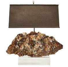 Fluorite, Pyrite & Quartz Specimen Lamp on Lucite Base - Katy Briscoe