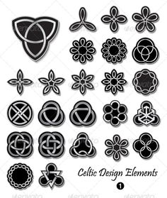Celtic Design Elements 1  #GraphicRiver         Celtic Knots ornaments and embellishments for design and decoration. Useful for badges, t-shirts, tattoo, documents and many more creative uses. Editable EPS10 format. Transparency is used for colors and blends for shadows. The archive include:   EPS-10 compatible vector image file,  High resolution 300dpi JPEG image file,   Some of my collections Created: 28April13 GraphicsFilesIncluded: JPGImage #VectorEPS Layered: No MinimumAdobeCSVersion
