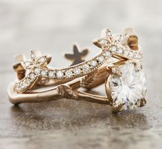 Unique engagement rings that are nature inspired in rose gold by Ken & Dana Design