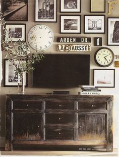 Living Room Ideas --- without the collage of photos.. maybe a couple photos... but LOVE the TV stand underneath