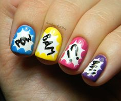 Super Hero/Comic book Mani...perfect mani for me when we have Ethaniels Super Hero birthday party ;)