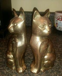 """Pair of Vintage CAT Brass Figurine Doorstop Bookend Sculpture 7"""""""