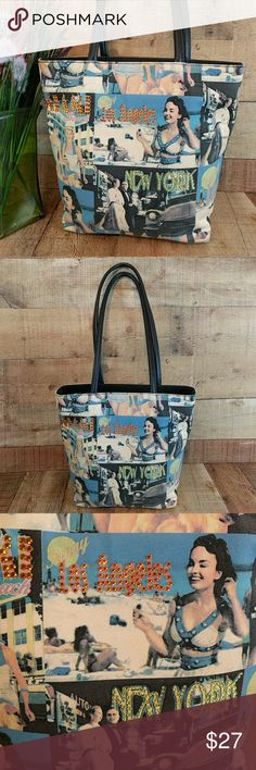 """Retro Art Canvas Tote by Wilson Leather Purse Trending retro art graphic purse. Tote with 4 little metal feet on the bottom. Great condition. No holes or stains. Smoke free. Measures 12"""" wide. 11"""" tall. 3-14"""" deep. 12.5"""" strap drop. RT3 Wilsons Leather Bags Totes"""