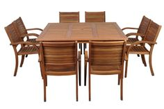 Get this Amazonia Arizona 9-Piece Eucalyptus Square Teak Dining Set, which is from the Amazonia Eucalyptus Collection and features high-quality teak wood.
