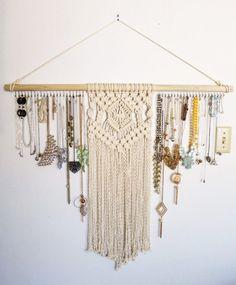 Macrame Jewelry Organizer / Wall Hanging / Reform Fibers Macrame Jewelry Organizer / Wall Hanging / Reform Fibers This. Macrame Wall Hanging Patterns, Macrame Plant Hangers, Macrame Art, Macrame Design, Macrame Projects, Macrame Patterns, Macrame Jewelry, Jewelry Wall, Hanging Jewelry Organizer