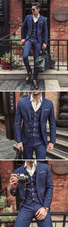 US$132.77 (48% OFF) Three Pieces Blue Plaid Slim Fit Blazer Suit for Me