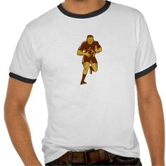 Rugby Player Running Ball Woodcut Tee Shirts. Illustration of a rugby player with ball running viewed from front set on isolated white background done in retro woodcut style. #Illustration #RugbyPlayerRunningBall #rwc #rwc2015 #rugbyworldcup