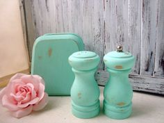 Aqua Salt And Pepper Shakers With Napkin Holder, Shabby Chic Hand Painted Wooden…