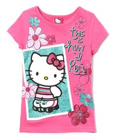 Another great find on #zulily! Pink 'This Is How I Roll' Hello Kitty Tee - Girls by Hello Kitty #zulilyfinds