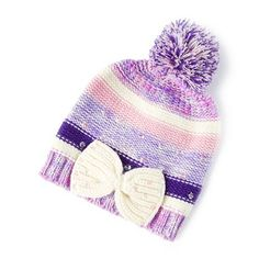 fd9e375741d Pink and Purple Striped Beanie with Sequin Bow