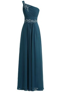 Sunvary 2015 One Shoulder Long Chiffon Bridesmaid Party Dresses Prom Evening Gowns Mother of the Bride Dress US Size 6- Dark Teal
