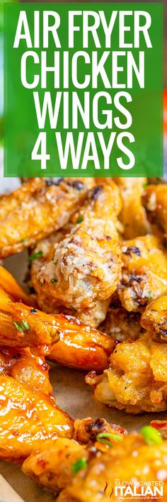 Air Fryer Chicken Wings 4 Ways Recipe Using Chicken, Chicken Wing Recipes, Honey Bbq Wings, Chicke Recipes, The Slow Roasted Italian, Air Fryer Chicken Wings, Air Fryer Recipes Easy, Homemade Sauce, Food Shows