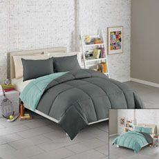 Solid Reversible Microfiber Comforter Set Teal And Gray Grey Bedding Bedroom