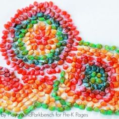 Seasonal Idea of the Week: Colored Corn Mosaics- pinned by @PediaStaff – Please Visit ht.ly/63sNtfor all our pediatric therapy pins