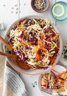 This no-mayo vinegar coleslaw recipe will be a hit at your next cookout! It's sweet and tangy, crunchy and refreshing, and super easy to make. | Love and Lemons #sidedish #coleslaw #healthy #salad Appetizer Recipes, Soup Recipes, Dinner Recipes, Vinegar Coleslaw, Summer Salad Recipes, Summer Salads, For Love And Lemons, Carrot Greens, Side Dishes For Bbq