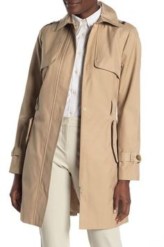 7af4a83401b Detachable Hood Faux Leather Trim Trench Coat by Cole Haan on  @nordstrom_rack