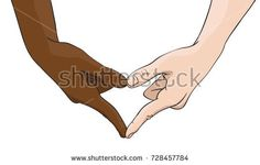 Vector illustration of multiracial hands showing heart shape gesture, Love and friendship concept between multi ethnic woman and man, Illustration in colored sketch style isolated on white background