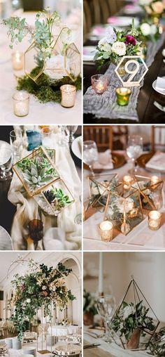 trendy geometric wedding ceremony centerpieces ideas (in silver) Wedding Flower Arrangements, Wedding Table Centerpieces, Flower Centerpieces, Flower Decorations, Wedding Flowers, Wedding Decorations, Centerpiece Ideas, Wedding Lanterns, Centrepieces
