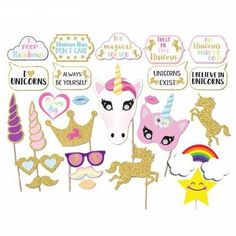 unicorn photo booth props, kids birthday parties, cool party ideas, birthday party, 1st birthday, first birthday,