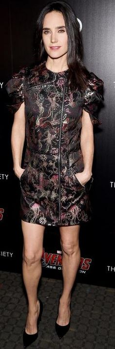 Who made  Jennifer Connelly's black short sleeve dress?