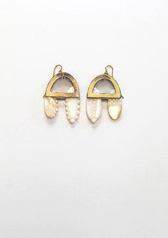 // earrings, enamel on copper, mother of pearl, gold