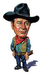 Celebrity Caricatures - Art - John Wayne  by Art