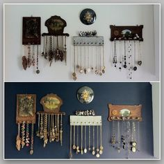 Towel bar and other vintage items double as necklace holders and wall art
