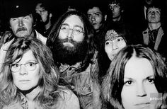John Lennon and Yoko Ono, Watching Bob Dylan at the Isle of Wight Festival, 31 August 1969.