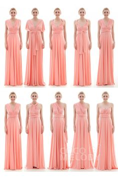 Divine Sheath-Column Natural Floor Length Knitted Fabric Sleeveless Convertible Bridesmaid Dress COEF16001#Cocomelody#bridesmaid dress#bridesmaid dress#party gowns#