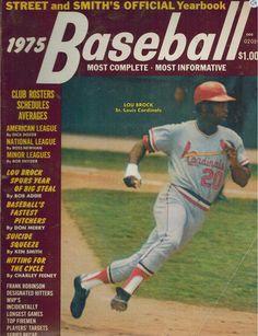 1975 Street and Smith Baseball Yearbook - Lou Brock cover, Cardinals #MLB #Baseball #Vintage