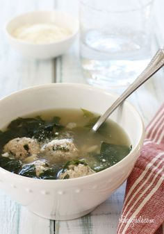 Escarole Soup with Turkey Meatballs (Italian Wedding Soup) | Skinnytaste