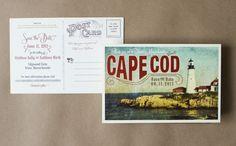 Vintage Postcard Save the Date (Cape Cod Lighthouse)