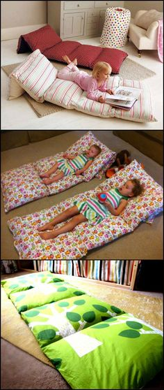 If you have extra pillows in your home, you can turn them into a small bed for the kids while watching TV or reading a book. http://craft.ideas2live4.com/2015/03/31/pillow-beds/ Got some extra pillows