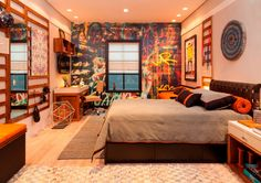 Environments decorated with graffiti and drawings Interior Exterior, Interior Architecture, Interior Design, Small Room Bedroom, Small Rooms, Teen Room Decor, Bedroom Decor, Graffiti Bedroom, Awesome Bedrooms