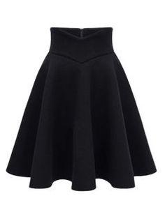 Black High Waist Midi Woolen Skater Skirt
