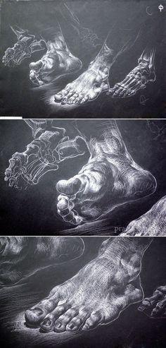 foot. drawing with chalk on black paper / Завьякова Н.А. 2 курс