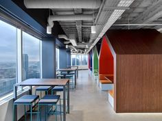 LinkedIn - Toronto Office / Painted Exposed Ceiling / Suspended Light Fixtures / Wire Management / Pop of Color in Furniture / Hive