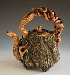 Twisted oak (pottery) teapot! Gorgeous!! @Jan Kolenda #Sticks & Stones Studio Plantation, Florida 954-816-8256