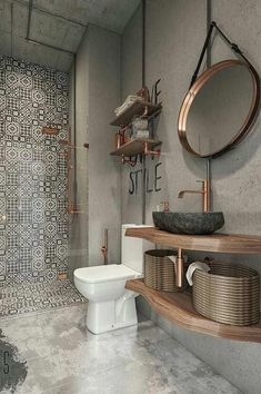 76 Amazing Modern Bathroom Design Ideas Modern bathrooms create a simplistic and clean feeling. In order to design your modern bathroom make sure to utilize geometric shapes and patterns, clean lines, minimal colours and mid-century… Diy Bathroom, Bathroom Flooring, Bathroom Interior, Small Bathroom, Bathroom Ideas, Bathroom Designs, Bathroom Grey, Funky Bathroom, Bath Ideas