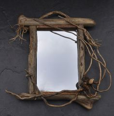 Driftwood Rustic Decor Small Wall Mirror Handcrafted Welsh